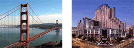 Golden Gate Bridge and Marriot Marquis Hotel