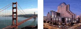 Golden Gate Bridge and Marriot Marquis Hotel