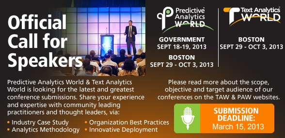 Call for Speakers - Predictive Analytics Times - machine learning